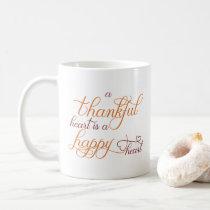 thankful heart is a happy heart thanksgiving coffee mug