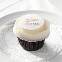 thankful heart is a happy heart thanksgiving edible frosting rounds