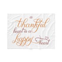 thankful heart is a happy heart thanksgiving fleece blanket