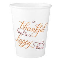 thankful heart is a happy heart thanksgiving paper cup