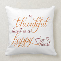thankful heart is a happy heart thanksgiving throw pillow