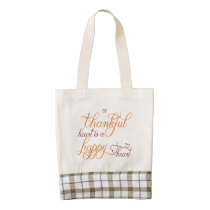 thankful heart is a happy heart thanksgiving zazzle HEART tote bag