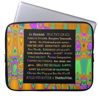 thankful mind and art laptop computer sleeve