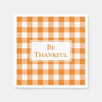 Thankful Orange White Gingham Check Thanksgiving Napkin