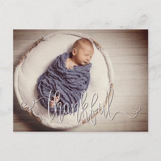Thankful Photo Filter Birth Announcement Postcard