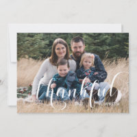 Thankful Photo Thanksgiving Holiday Card