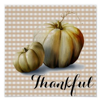 """Thankful"" Pumpkins and Plaid Art Print Poster"