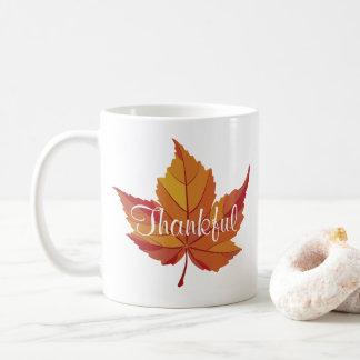 Thankful Script & Orange Fall Leaf Coffee Mug