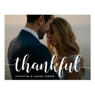 Thankful Script   Wedding Photo Thank You Postcard