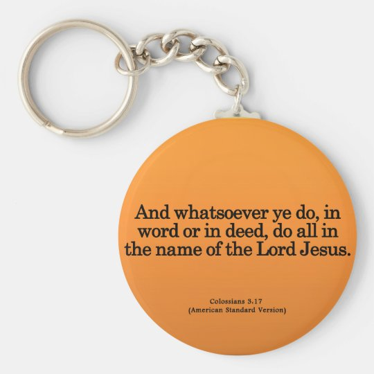 Thankful Service in His Name Colossians 3-17 Keychain