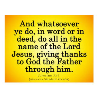 Thankful Service in His Name Colossians 3-17 Postcard