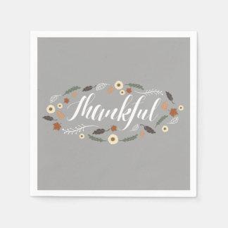 Thankful Thanksgiving Cocktail Napkins