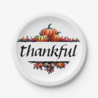Thankful Thanksgiving Harvest Party Paper Plates