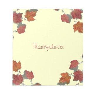 Thankfulness Fall Maple Leaves Pale Yellow Notepad