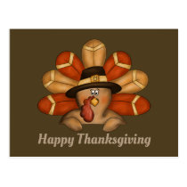 Thankgiving Holiday turkey add greeting postcard