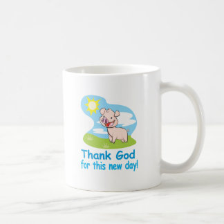 Thanking God for this New Day With Happy Piglet Coffee Mugs