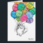 """THANKS A BUNCH CARD<br><div class=""""desc"""">A cheerful cat with many colorful balloons is carried away with gratitude.</div>"""