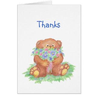 Thanks a Bunch Humor, Teddy Bear Flowers Card
