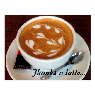 Thanks a latte art hearts postcard