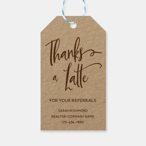 Thanks a Latte | Realtor Marketing  | Thank You Gift Tags