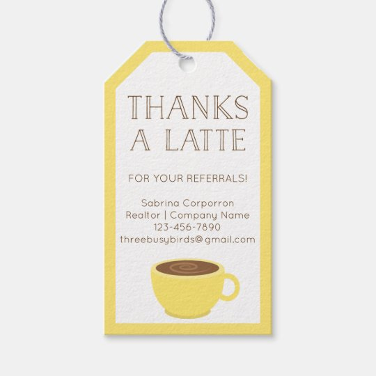 photo relating to Thanks a Latte Printable Tag identified as Due A Latte Real estate agent Trainer Appreciation Reward Tags