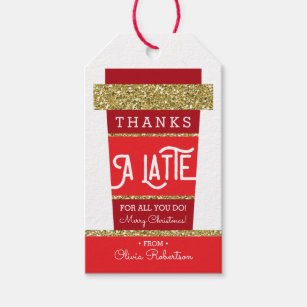 image regarding Thanks a Latte Christmas Printable called Instructor Present Tags Reward Enclosures Zazzle