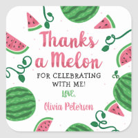 Thanks A Melon Sticker, Watermelon Square Sticker