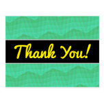 [ Thumbnail: Thanks; Abstract Aquamarine Wavy and Lines Pattern Postcard ]