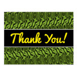 [ Thumbnail: Thanks; Abstract Green Liquid-Like Splotch Pattern Postcard ]