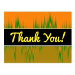 [ Thumbnail: Thanks; Abstract Orange, Green, Brown Wave Pattern Postcard ]