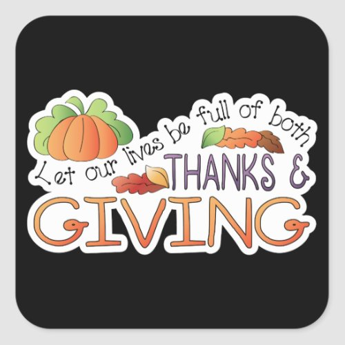 Thanks and giving Thanksgiving words sticker