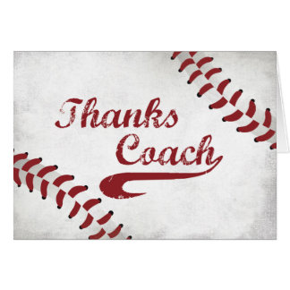 Thanks Baseball Coach Large Grunge Baseball Card