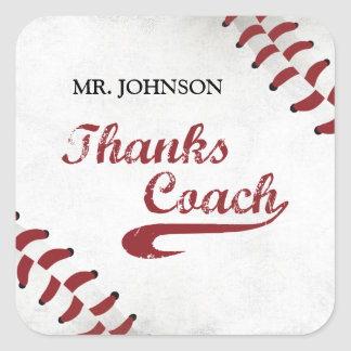 Thanks Baseball Coach Large Grunge Baseball Square Sticker