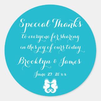 Thanks Blue White Seahorse Wedding Stickers