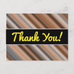 [ Thumbnail: Thanks + Blurry Rustic Inspired Stripes Pattern Postcard ]