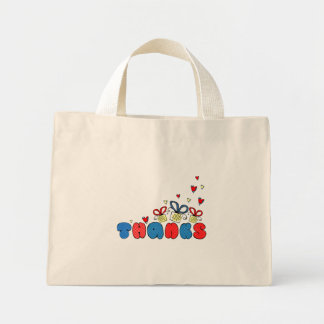 """Thanks"" bold doodle sign with retro halftones Mini Tote Bag"