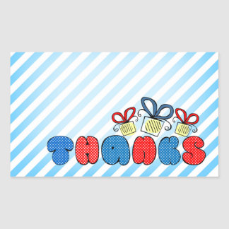 """Thanks"" bold doodle sign with retro halftones Rectangular Sticker"
