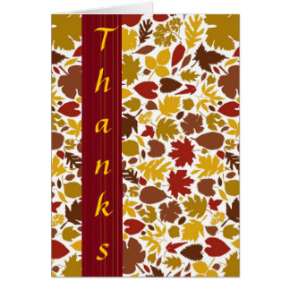 Thanks card with colorful fall leaves