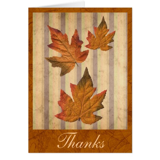 """Thanks"" card with fall leaves"