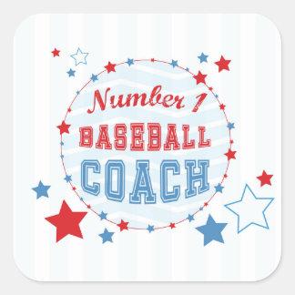 Thanks Coach All-Stars Baseball, Red, Blue Stripes Square Sticker
