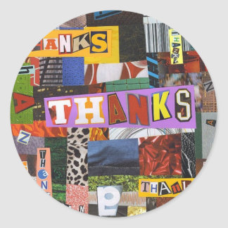 Thanks collage classic round sticker