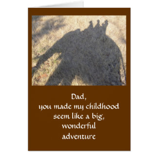"""THANKS DAD riding an elephant, sense of adventure Card"