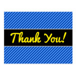 [ Thumbnail: Thanks; Dark Blue and Lighter Blue Stripes Pattern Postcard ]