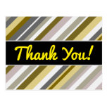 "[ Thumbnail: Thanks + ""Earthy"", Rustic-Like Stripes Pattern Postcard ]"