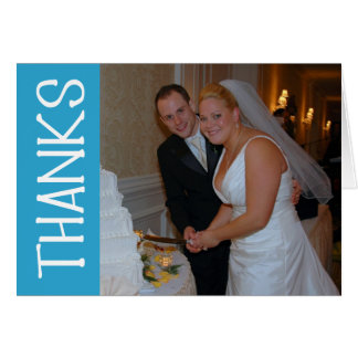 Thanks Felt Tip Thank You Notecard (Blue) Greeting Cards