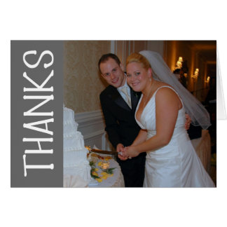 Thanks Felt Tip Thank You Notecard (Gray) Stationery Note Card