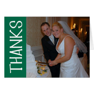 Thanks Felt Tip Thank You Notecard (Green) Greeting Cards
