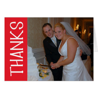 Thanks Felt Tip Thank You Notecard (Red) Card