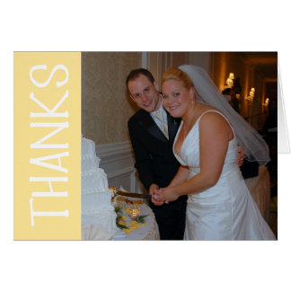 Thanks Felt Tip Thank You Notecard (Yellow) Greeting Cards