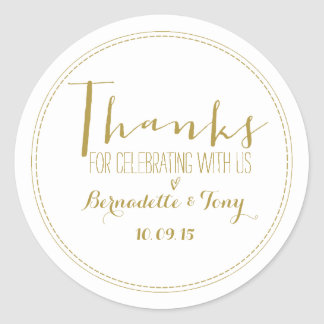 Thanks For Celebrating With Us! Wedding Thank You Classic Round Sticker